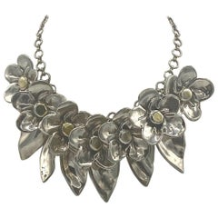Sterling Silver Floral Charm Necklace by Bat-Ami