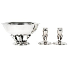 Sterling Silver Footed Center Piece Bowl / Two Candlesticks