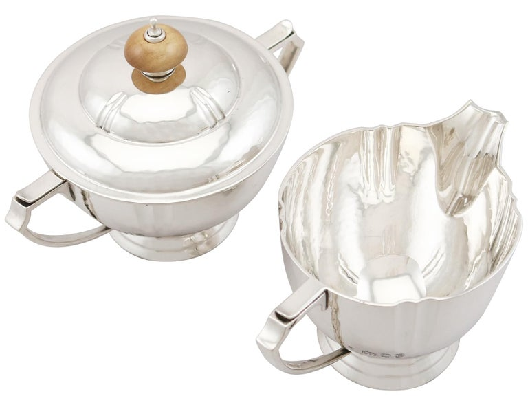 Sterling Silver Four-Piece Tea and Coffee Service with Tray For Sale 5