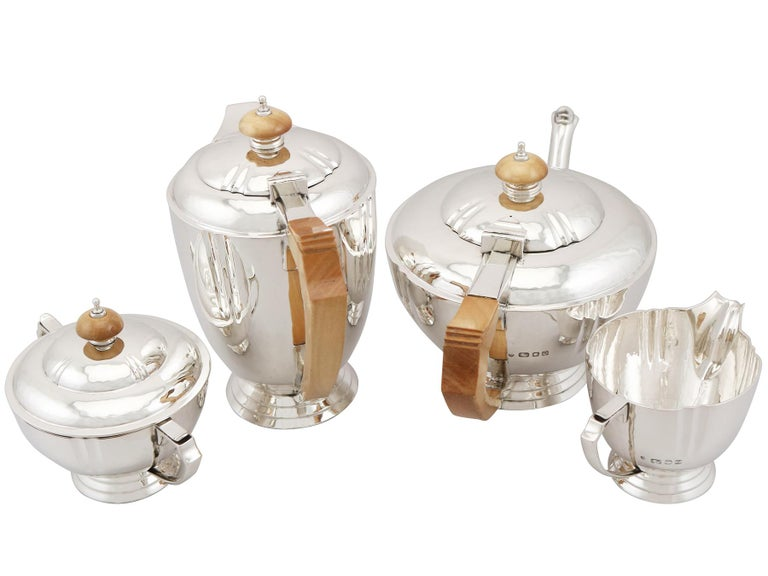 Art Deco Sterling Silver Four-Piece Tea and Coffee Service with Tray For Sale