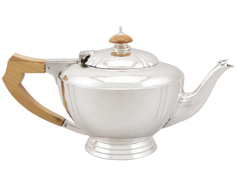 British Sterling Silver Four-Piece Tea and Coffee Service with Tray For Sale