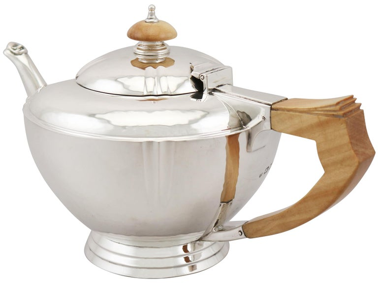 Mid-20th Century Sterling Silver Four-Piece Tea and Coffee Service with Tray For Sale