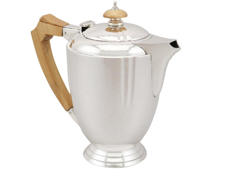 Sterling Silver Four-Piece Tea and Coffee Service with Tray For Sale 1