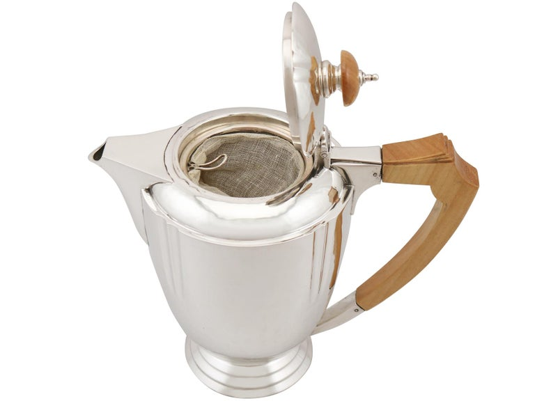 Sterling Silver Four-Piece Tea and Coffee Service with Tray For Sale 3
