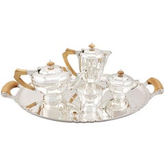 Sterling Silver Four Piece Tea and Coffee Service with Tray