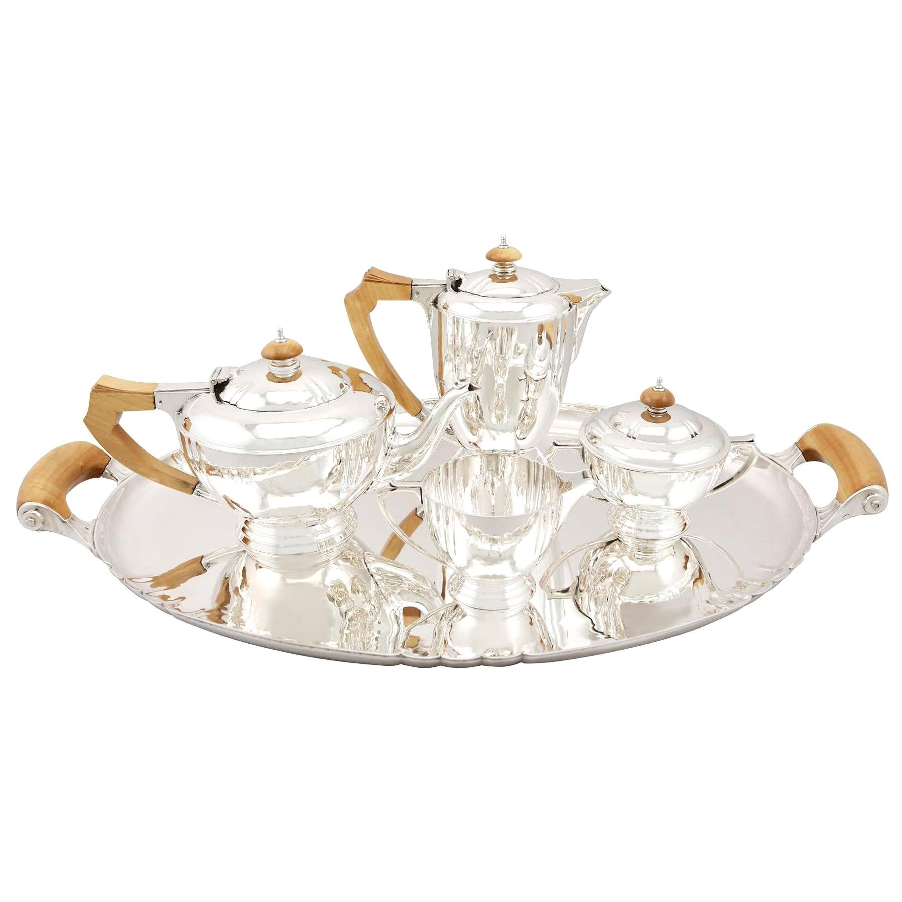 Sterling Silver Four-Piece Tea and Coffee Service with Tray