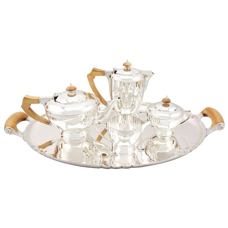 Sterling Silver Four-Piece Tea and Coffee Service with Tray For Sale