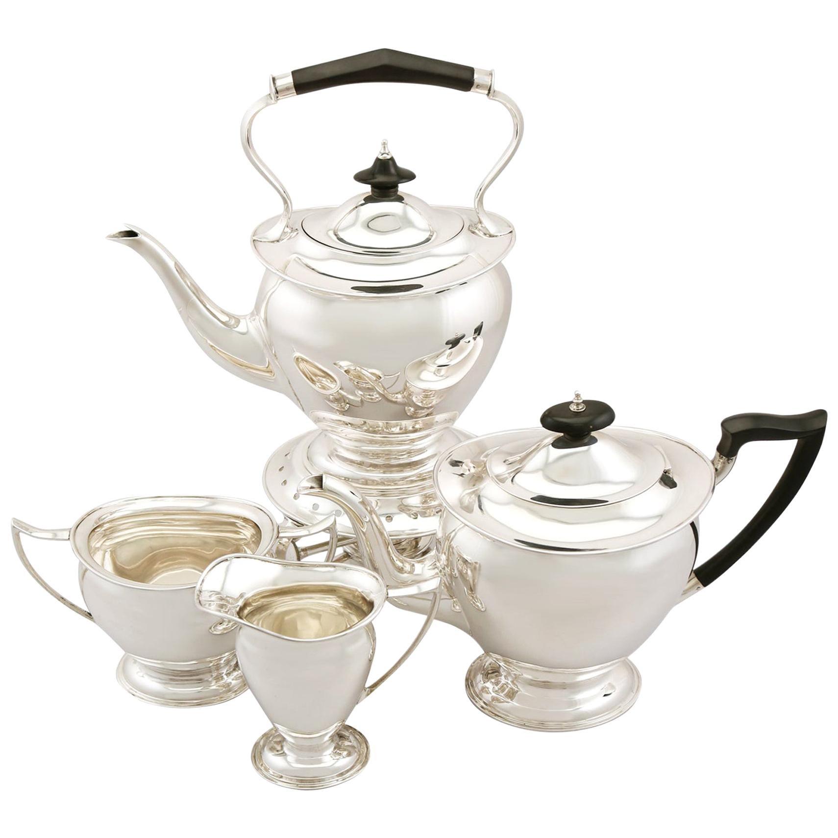 Sterling Silver Four Piece Tea Service, Antique George V