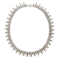 Sterling Silver Fringe Design Link Necklace circa 1970s