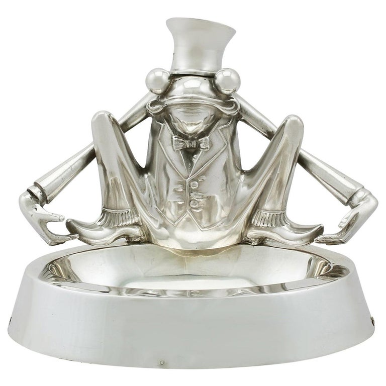Sterling Silver 'Frog' Inkwell, Antique Edwardian, 1904 For Sale