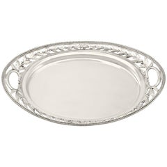 Sterling Silver Galleried Drinks Tray, Antique Victorian, 1879