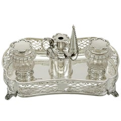 Sterling Silver Gallery Inkstand by William Hutton & Sons, Antique Victorian