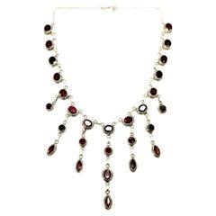 Sterling Silver Garnet Chandelier Necklace