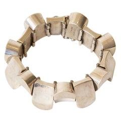 Sterling Silver Geometric Link Sculptural Bracelet Vintage