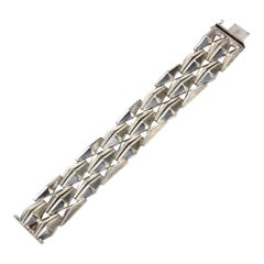 Sterling Silver Geometric Row Link Bracelet Vintage 60's Italian