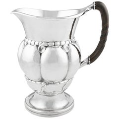 Sterling Silver Georg Jensen Pitcher with Ebony Handle, Design 7 by Georg Jensen
