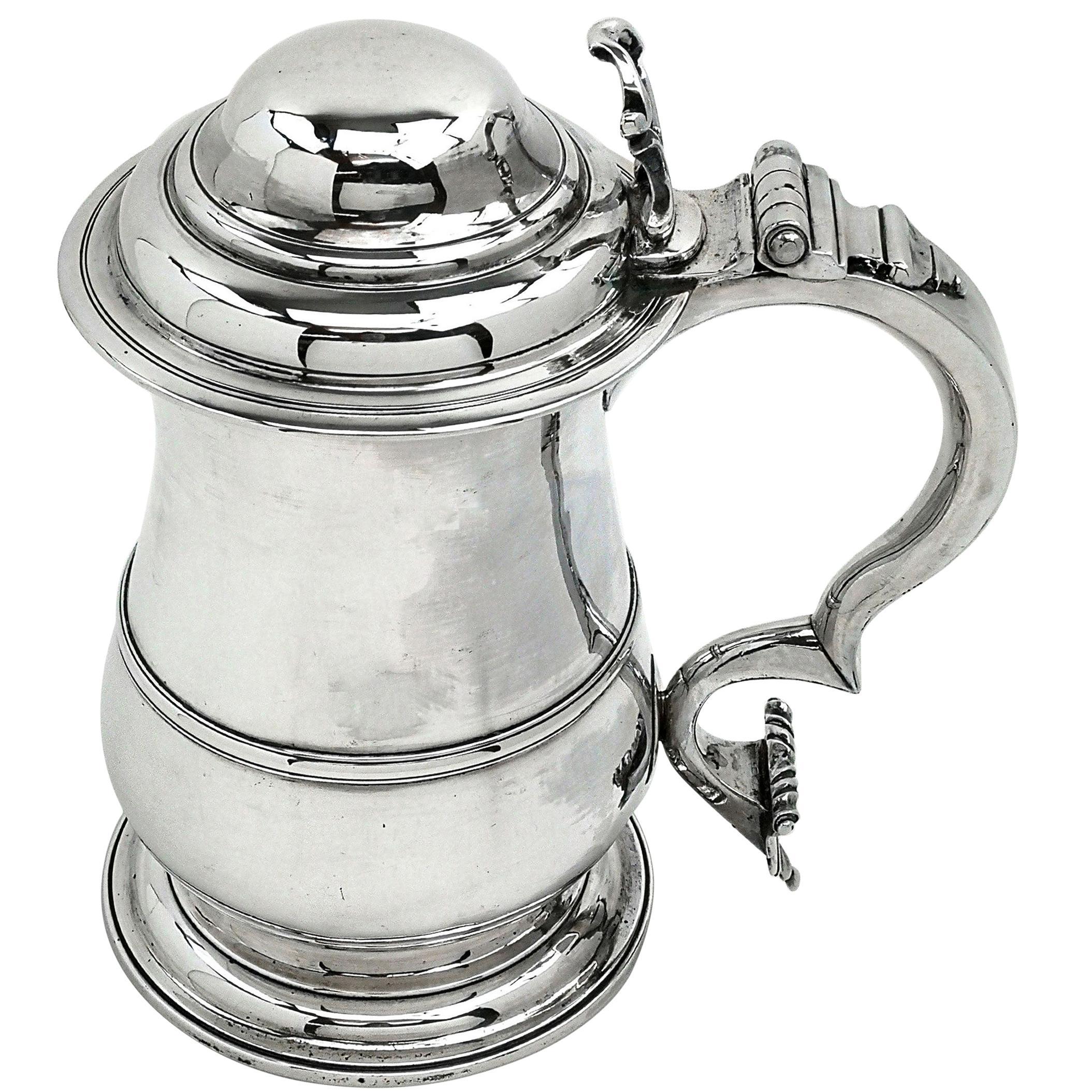 Sterling Silver George II Lidded Tankard / Georgian Beer Mug, 1754