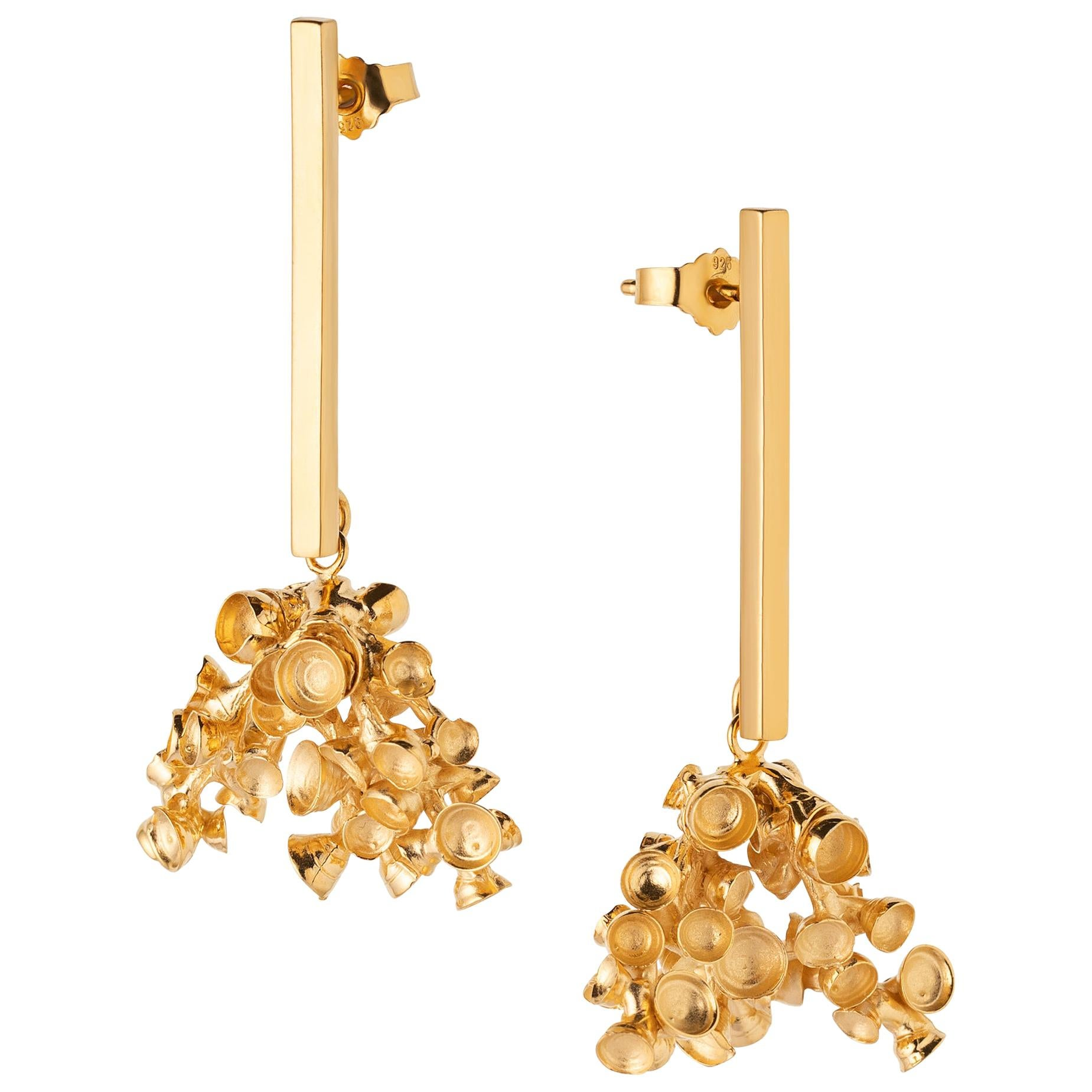 """Sterling Silver Gilt Dangle Earrings """"Corals"""""""