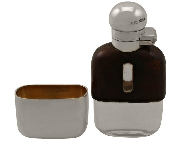 Sterling Silver Glass and Crocodile Skin Hip Miniature Flask, Antique George VI For Sale 1