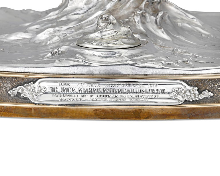 American Sterling Silver Globe Inkwell Centerpiece by Tiffany & Co. For Sale