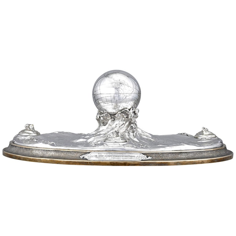 Sterling Silver Globe Inkwell Centerpiece by Tiffany & Co. For Sale