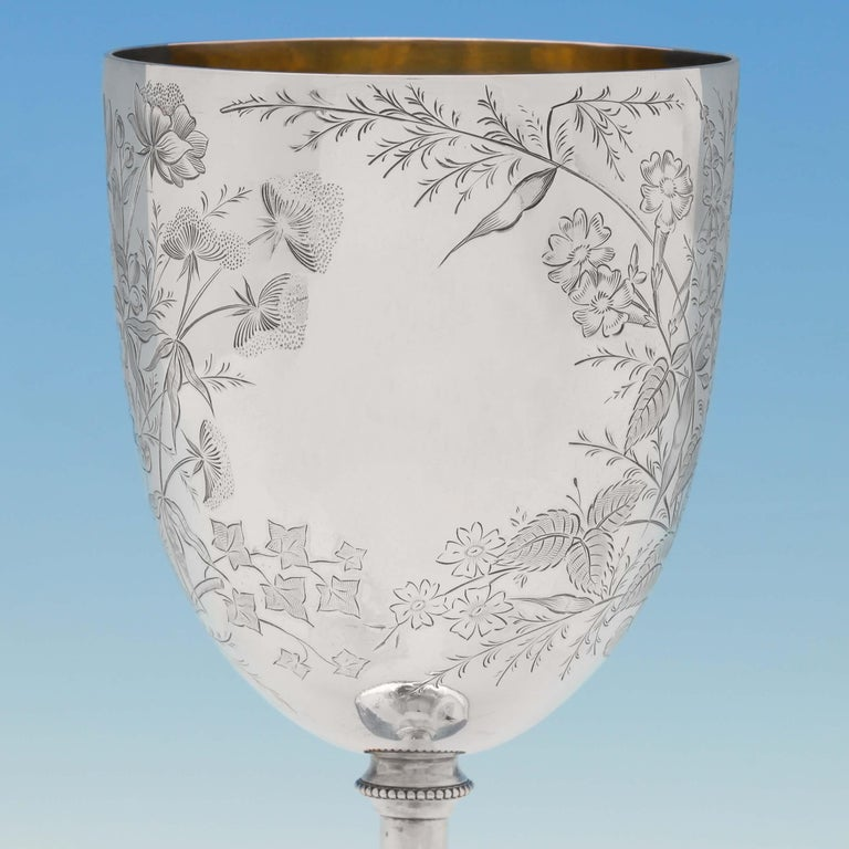 English Victorian Aesthetic Period Engraved Sterling Silver Goblet by W. W. Harrison