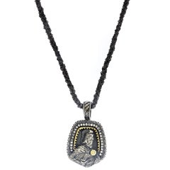 Sterling Silver Gold and Diamond Pendant Necklace with Mesh Chain Stambolian