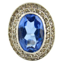 Sterling Silver/Gold Filled Blue Stone and Crystal Ring