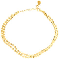 Sterling Silver Gold-Plated Bracelet Minimal Wave Round Motif Chain Greek