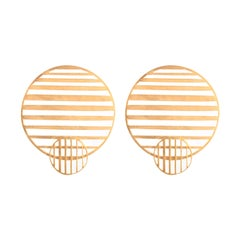Sterling Silver Gold-Plated Flowing double-circle earrings Earrings