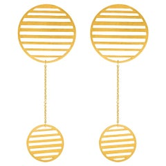 Sterling Silver Gold-Plated Flowing double-circle earrings Hanging Earrings