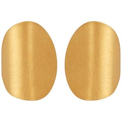 Sterling Silver Gold-Plated Folding Disk Curve Earrings
