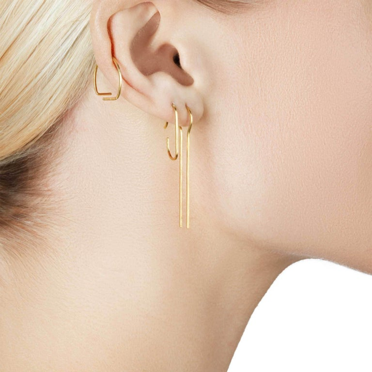 Artisan Sterling Silver Gold-Plated hammered Line Swing Earrings For Sale