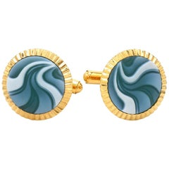 Gold-Plated Hand Carved Agate Gemstone Sterling Silver Cufflinks