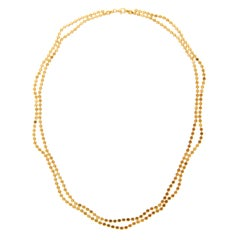 Sterling Silver Gold Plated Minimal Short Wave Round Motif Chain Greek Necklace