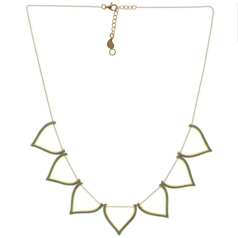 Sterling Silver Gold-Plated Mint Enamel Lotus Shaped Greek Chain Necklace