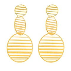 Sterling Silver Gold-Plated pattern triple circles hanging Earrings
