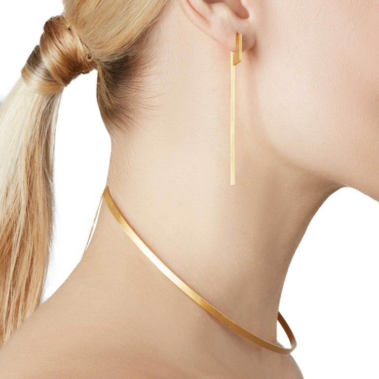 Sterling Silver Gold-Plated Perspective Swing Extension Earrings In New Condition For Sale In South Bank, Waterloo, London
