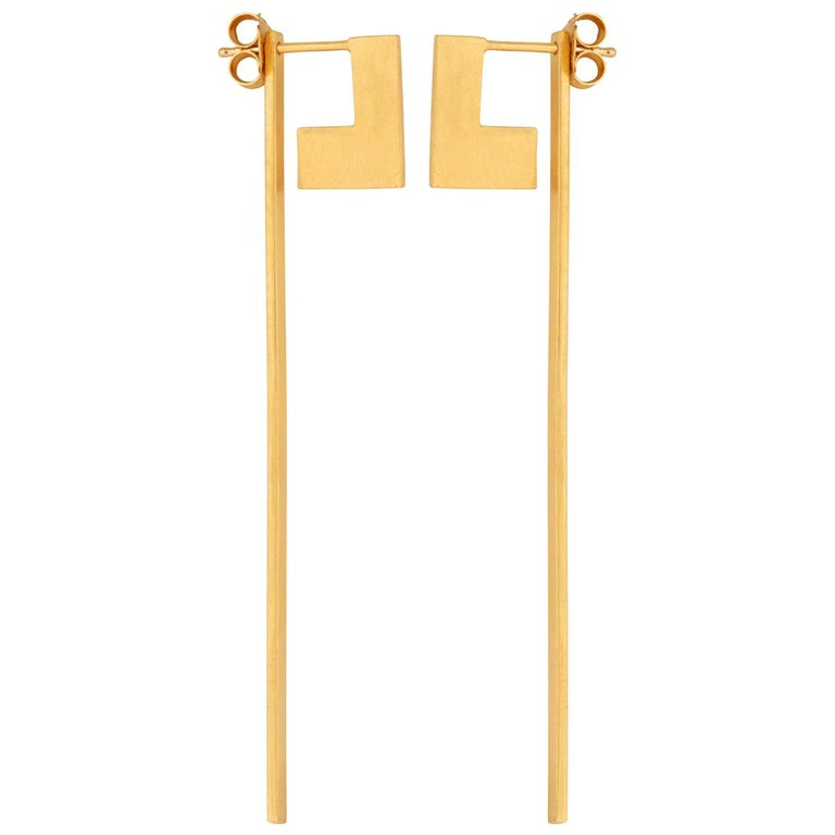 Sterling Silver Gold-Plated Perspective Swing Extension Earrings For Sale