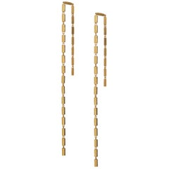 Sterling Silver Gold Plated Simple Greek Lightweight Chain Rectangular Earrings