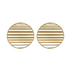 Sterling Silver Gold-Plated waving single-circle earrings Earrings