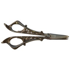 Sterling Silver Grape Shears Pierced Chased Black Starr & Frost, circa 1890s