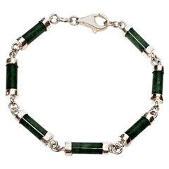Sterling Silver Green Jade Barrel Link Bracelet