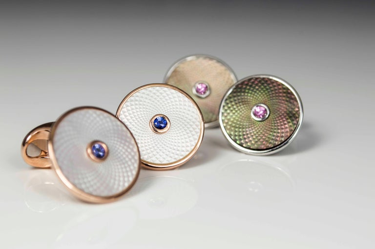 DEAKIN & FRANCIS, Piccadilly Arcade, London  Capture your dreams with our Dreamcatcher Collection; These cufflinks each contain a shimmery, precision cut piece of mother-of-pearl in either grey or white and are finished off with a precious gemstone