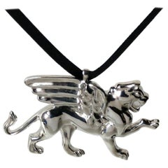Sterling Silver Griffin Pendant Necklace for Men