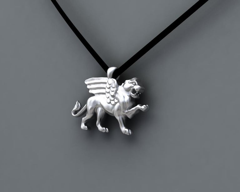 Contemporary Sterling Silver Griffin Pendant Necklace For Sale