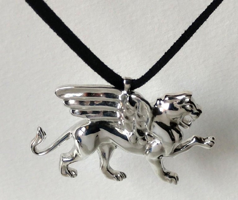 Women's or Men's Sterling Silver Griffin Pendant Necklace For Sale