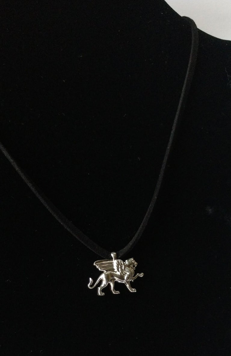 Sterling Silver Griffin Pendant Necklace For Sale 2