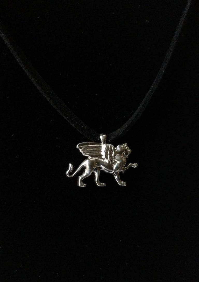 Sterling Silver Griffin Pendant Necklace For Sale 3