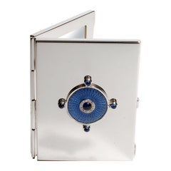 Sterling Silver Guilloché Blue Enamel Diamond and Sapphire Mirror Case